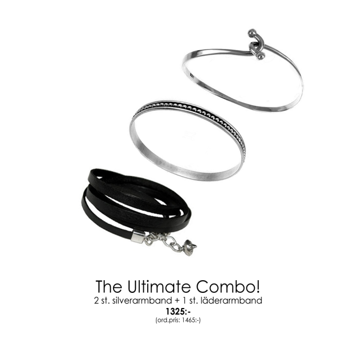 armband-combo,silver+läder