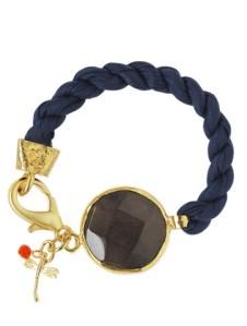Mrs Brown armband av marinblått silke och mörkbrun Jadesten.