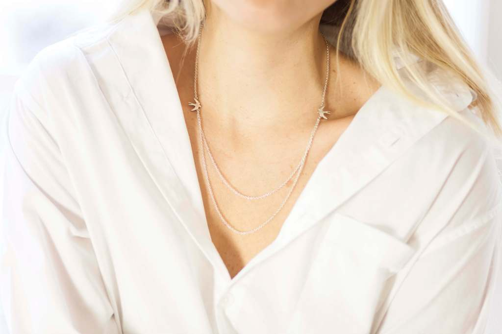 Grace Bird Double Chain Necklace