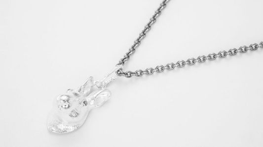 bjorg,halsband,silver,kanin