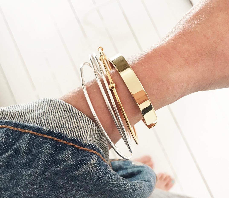 armband silver+guld,guld cuff
