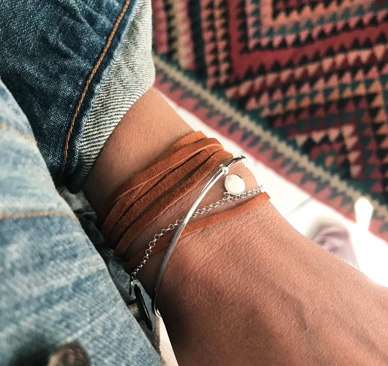 armband silver+läder