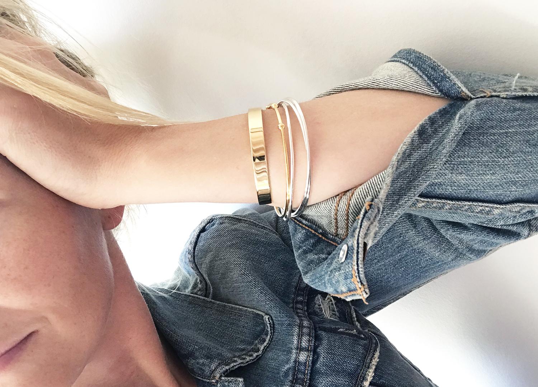 bangles,armband silver+guld