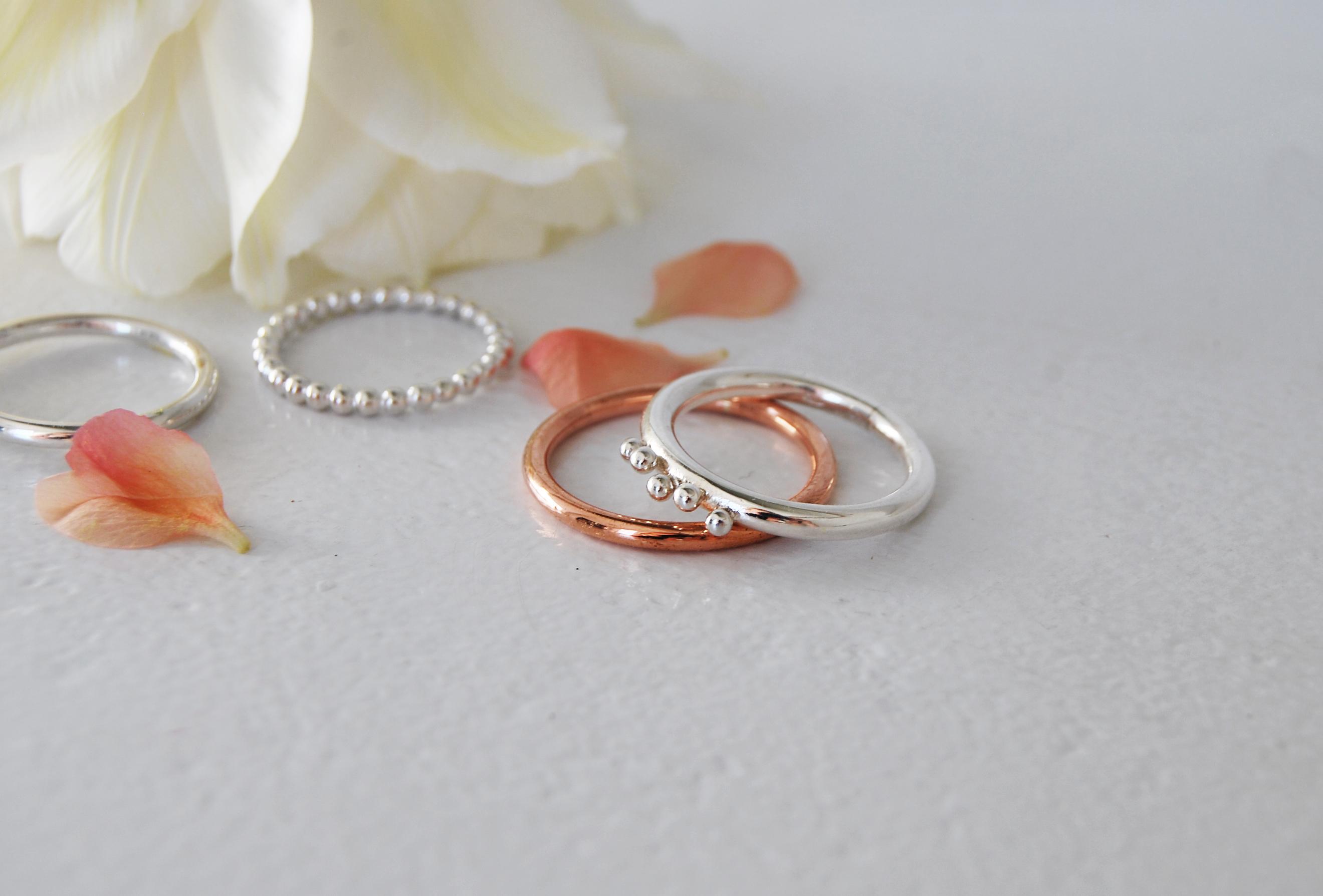 ringar silver + ros,4