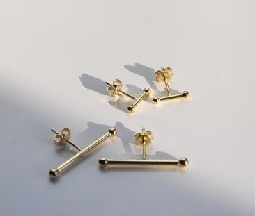 ear studs guld,design,t-bone,2